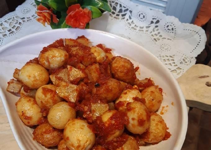 Balado telur puyuh kentang