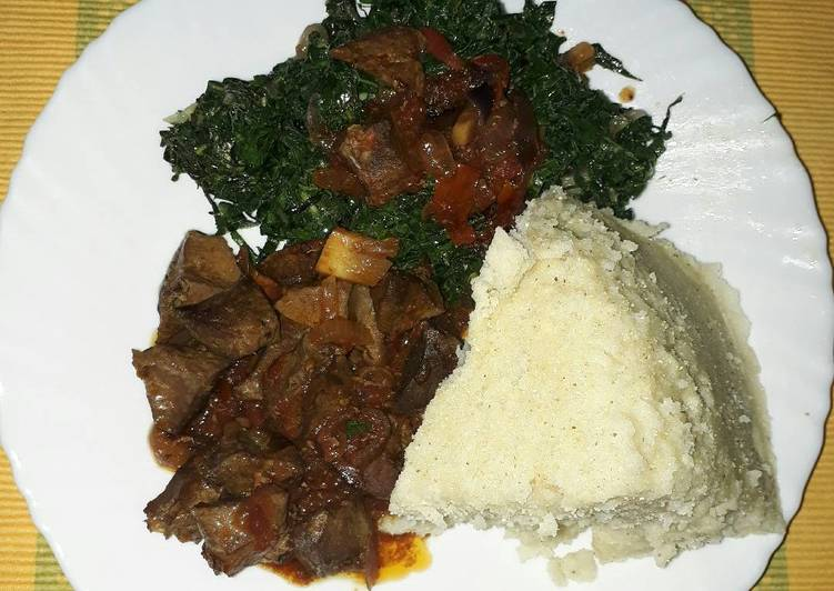 How to Make Delicious Liver fry ugali with veggies