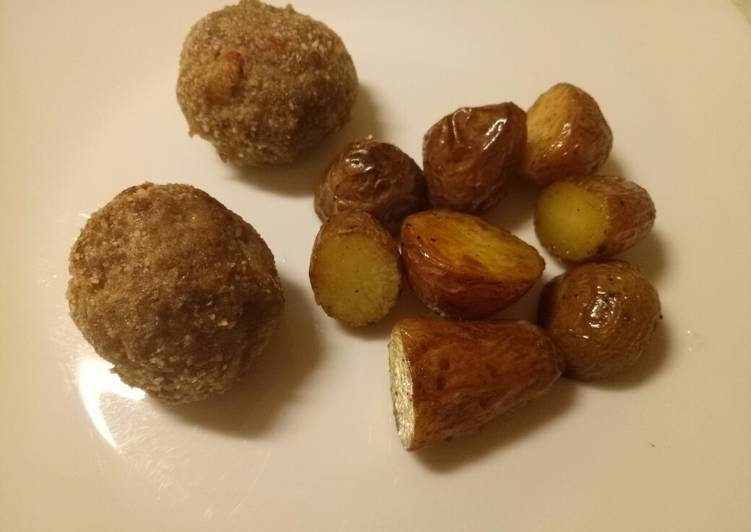 Speck and Parmesan meatballs with butter roasted potatoes