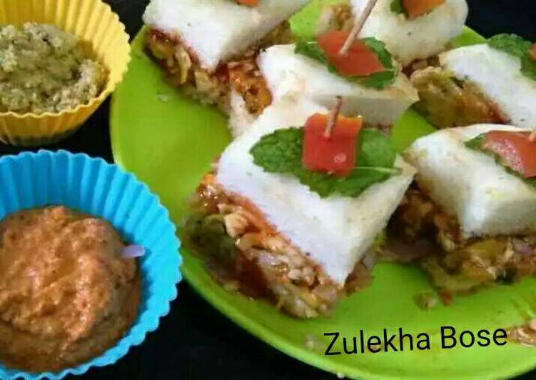 Thattey idli veggie and cheese stuffed mini sandwitches