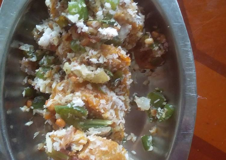 How to Make Any-night-of-the-week Chow chow muthia with bell pepper