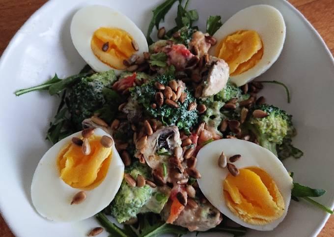 Sig's Broccoli, Mushroom Salad with Yogurt Mustard dressing