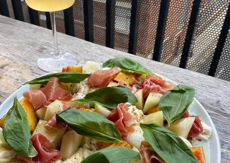 Recipe of Favorite Simple melon, nectarine, mozzarella, Parma ham and basil salad
