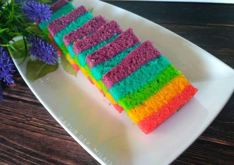 Steamed Rainbow Cake (Rainbow Cake kukus)