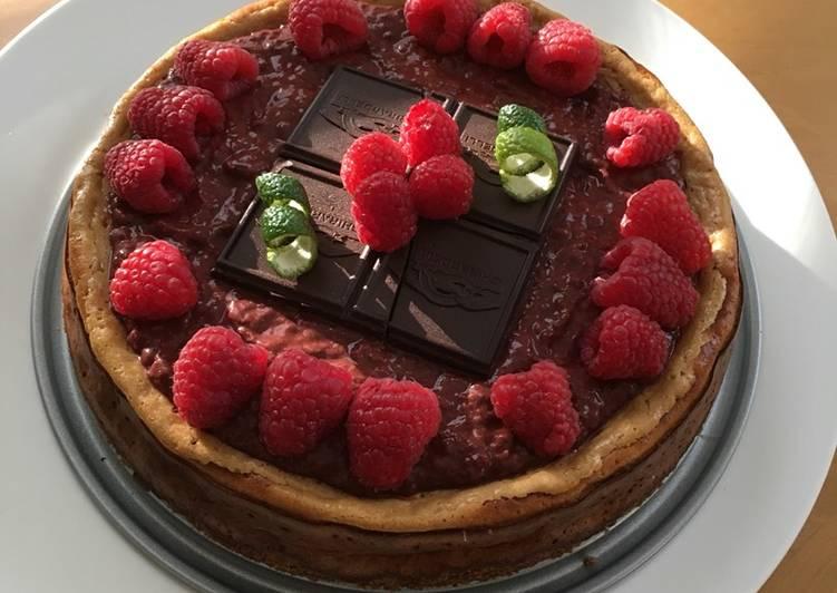 Dark Chocolate Coconut Raspberry Cheesecake