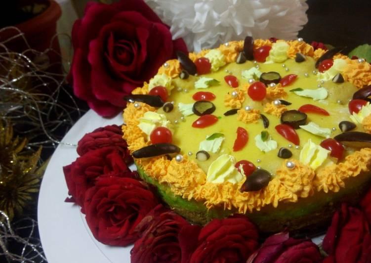 Baked kesar pista rabri cheesecake