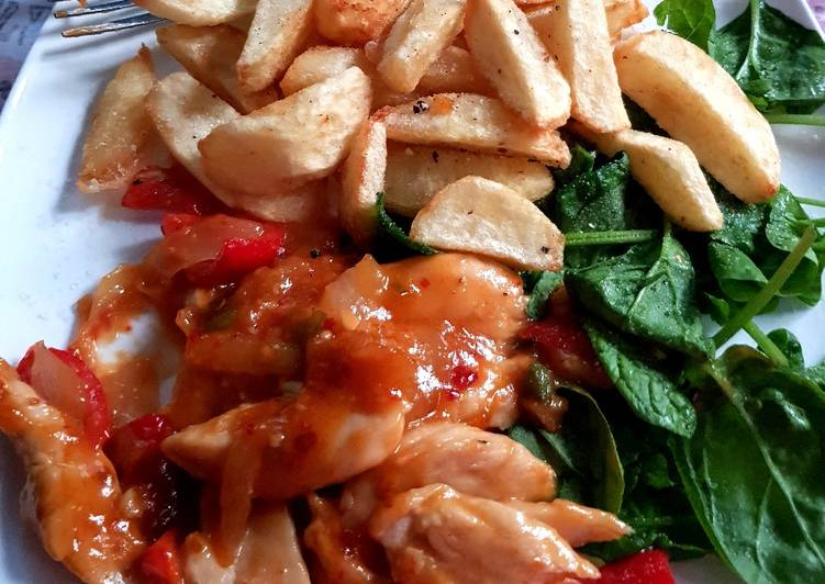 Recipe of Any-night-of-the-week My So Sweet Chilli Chicken with Spinach also Homemade Chips. 😀