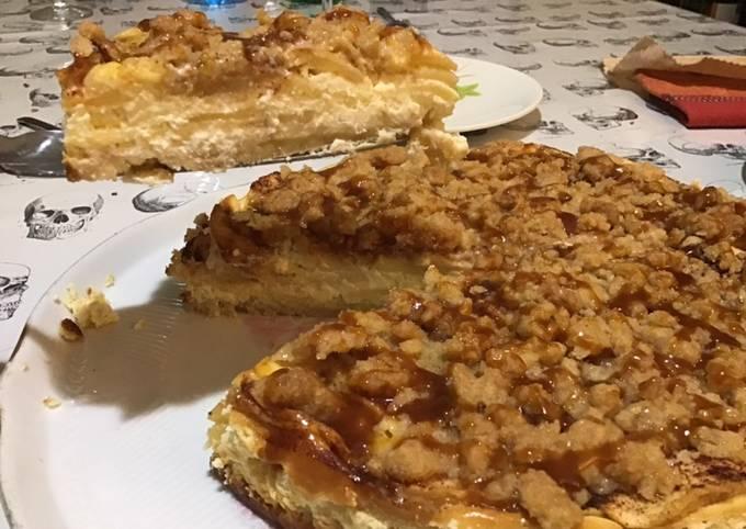 Crumble cheesecake aux pommes et caramel beurre salé
