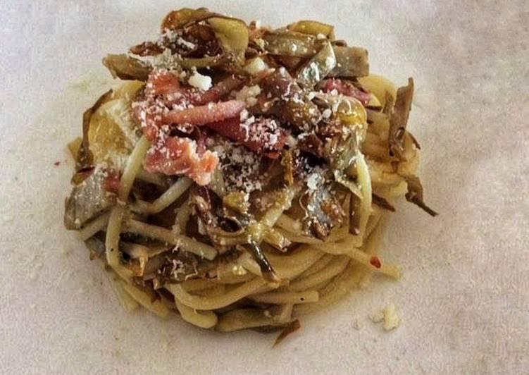 Spaghetti, carciofi e prosciutto cotto 🌷