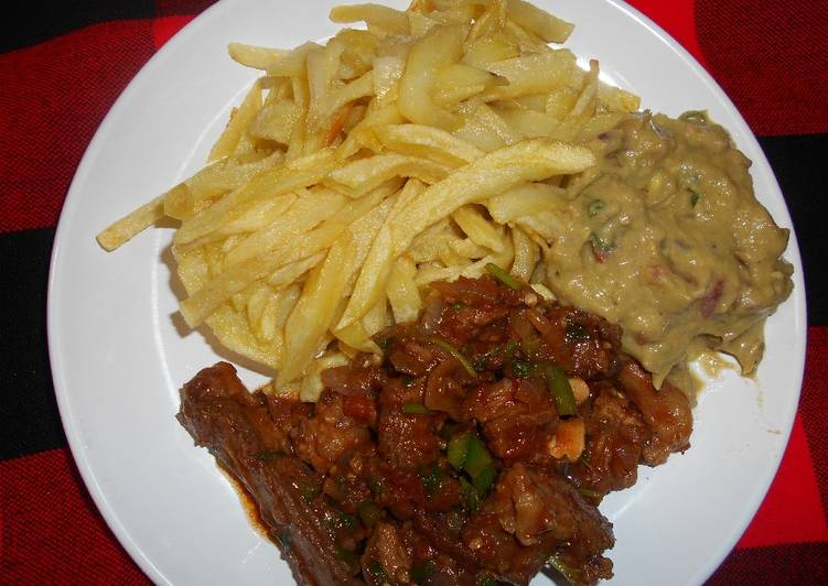 French fries, fried mutton & guacamole