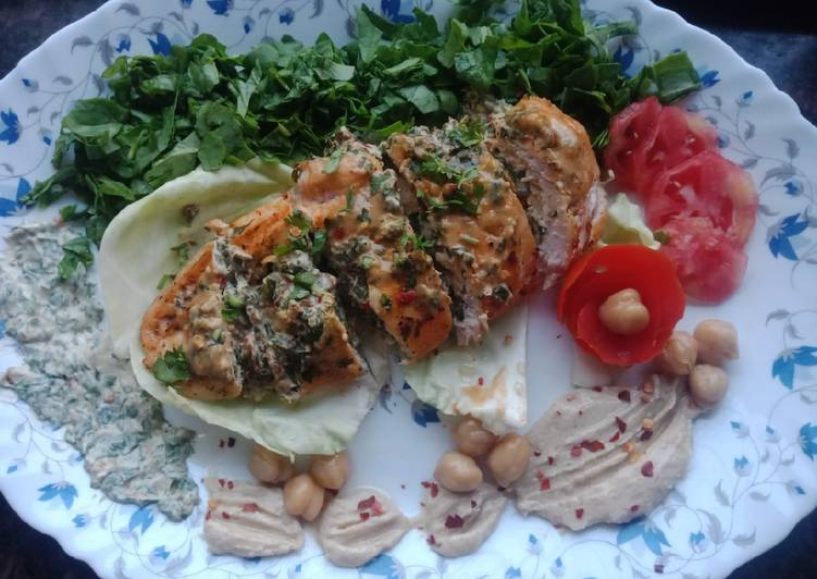 The Easiest Way To Create Tasty Creamy Spinach Cheese Stuffed Chicken Served With Hummus