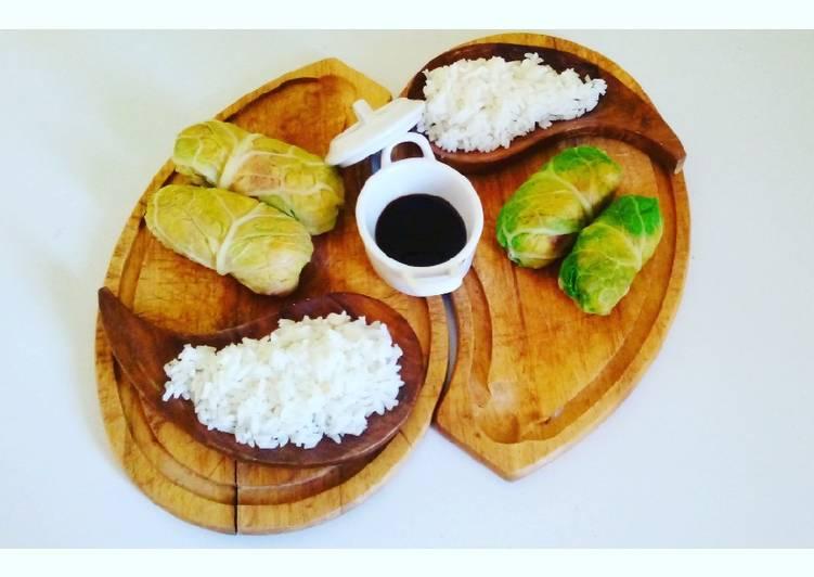 Rouleaux de chou vert et son riz blanc 🌱