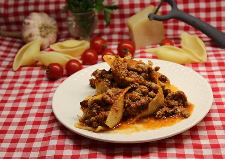 recette Conchiglioni à la bolognese gratinés le délicieux