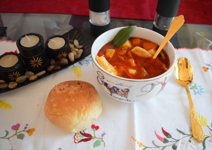 Hot and spicy potato soup with homemade pasta