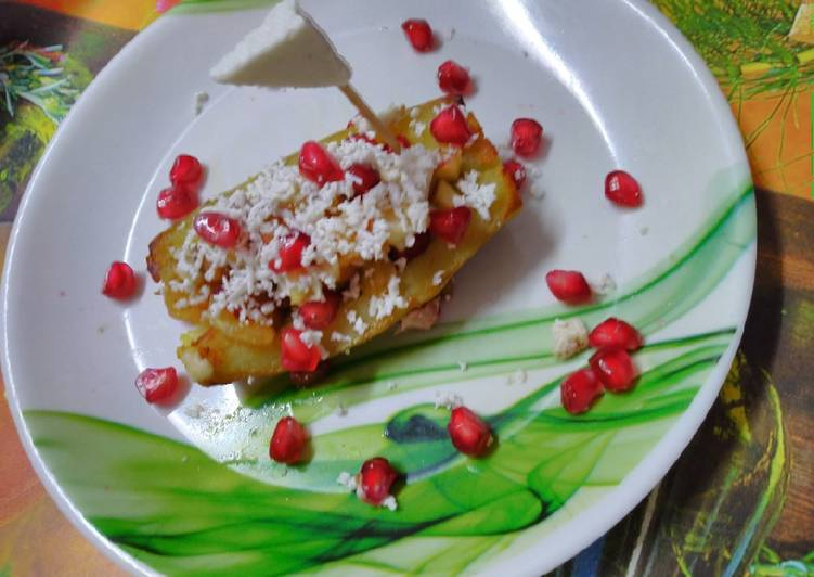 Sweet potato boat with fruits