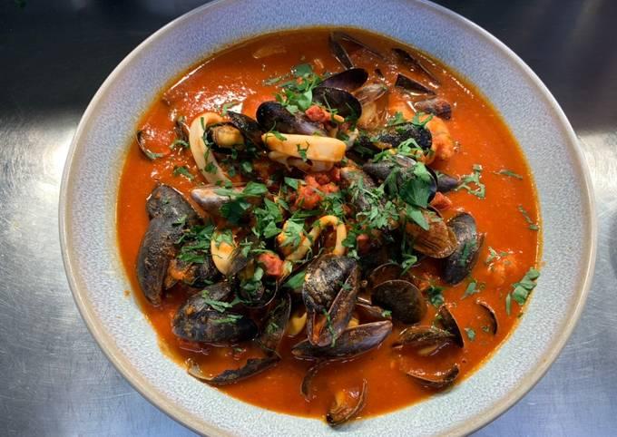 Seafood stew with tomato and chorizo