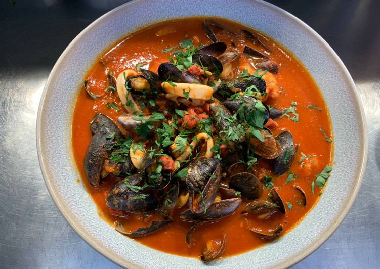 Easiest Way to Prepare Appetizing Seafood stew with tomato and chorizo