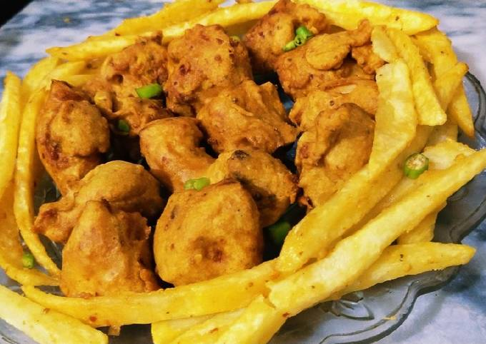 Chicken pakora with french fries 🍗🍟