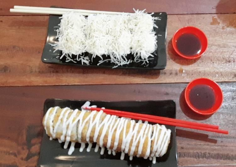 Sushi salmon spicy cheese dan crispy salmon roll