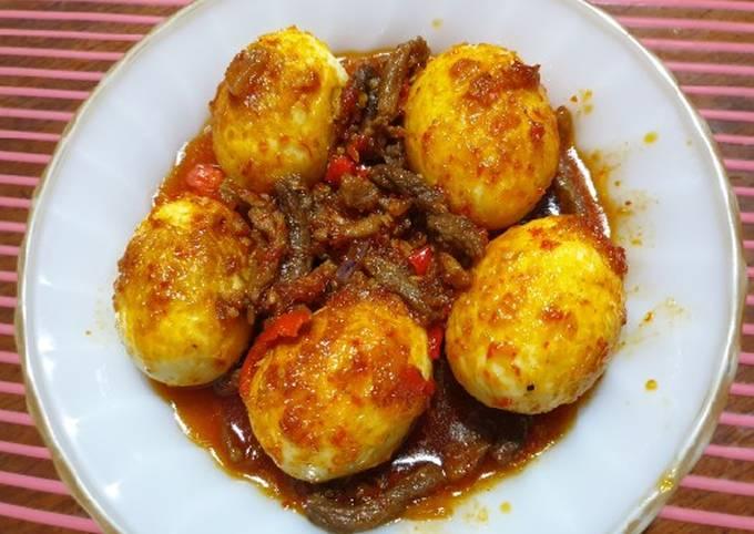 Balado telur daging sapi