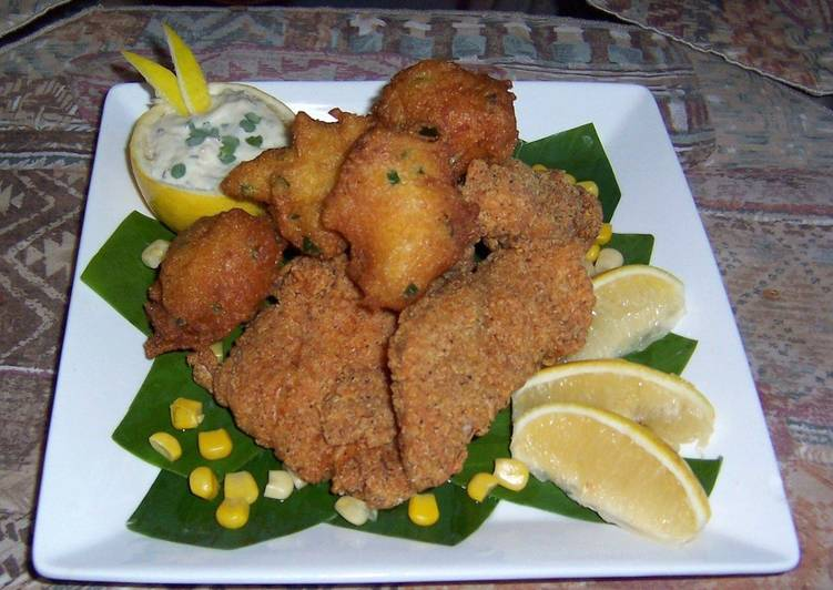 Steps to Prepare Quick Southern style catfish with jalapeño hush puppies