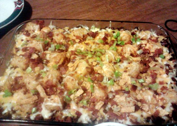 Recipe of Speedy Chili Cheese Burger Tater Tot Casserole