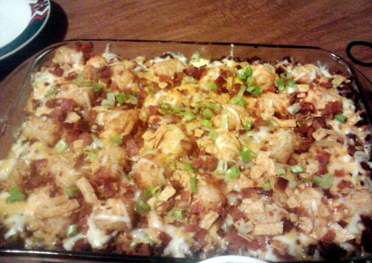Chili Cheese Burger Tater Tot Casserole