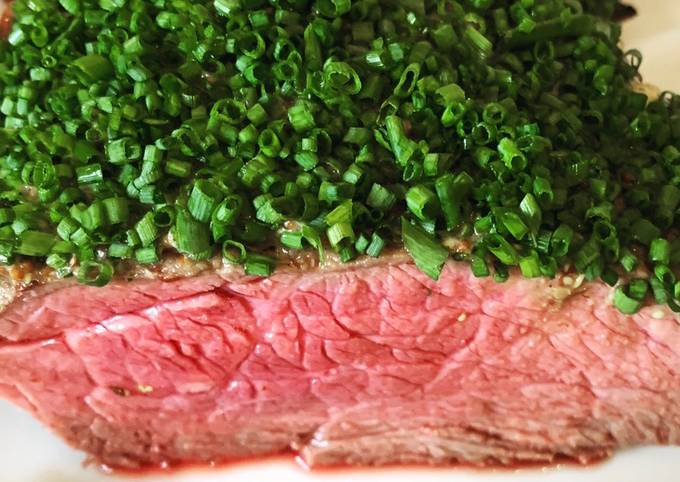 Top rump of Beef with whole grain mustard & chive