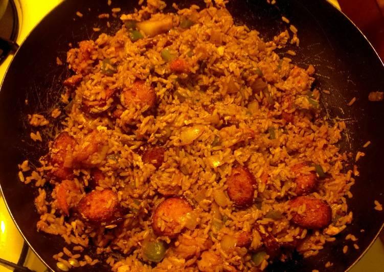 Recipe: Perfect Sausage n Shrimp fried rice