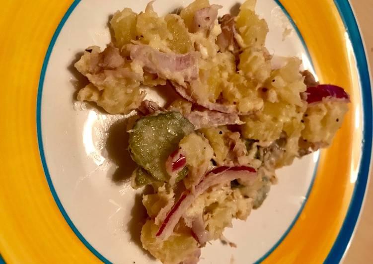 Salade de pommes de terre aux maquereaux fumés