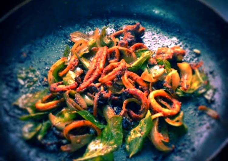 Fried Squids with onion  - a chewy delight!!!
