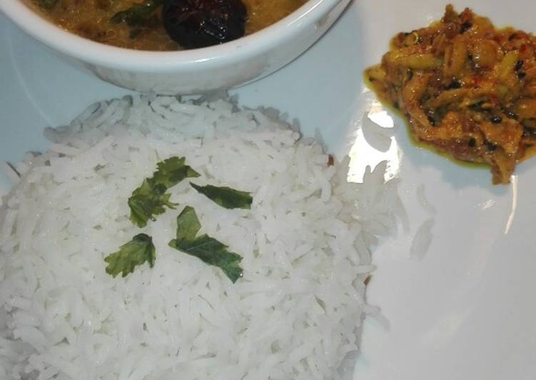 10 Minute How to Make Diet Perfect Moong Masoor Daal With White Rice and Mango Grated Achar