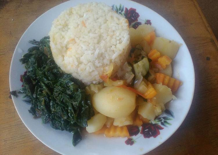 Carrot rice, fried kales and potato stew