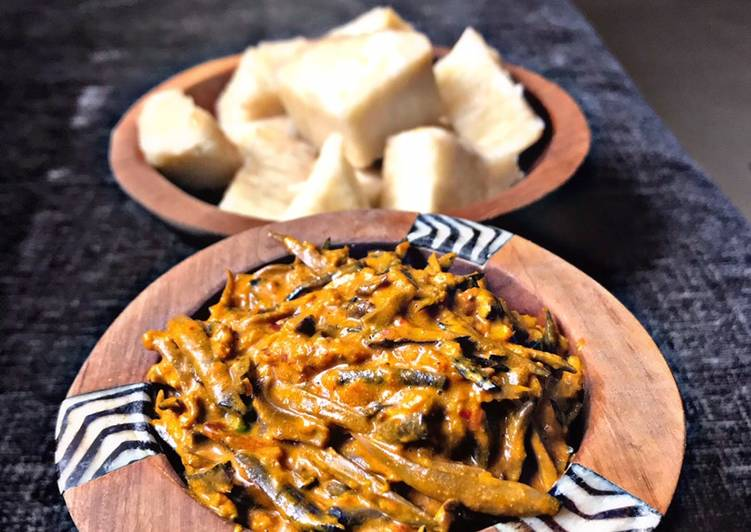 20 Minute Dinner Easy Special Ugba with Boiled Yam (oil bean)