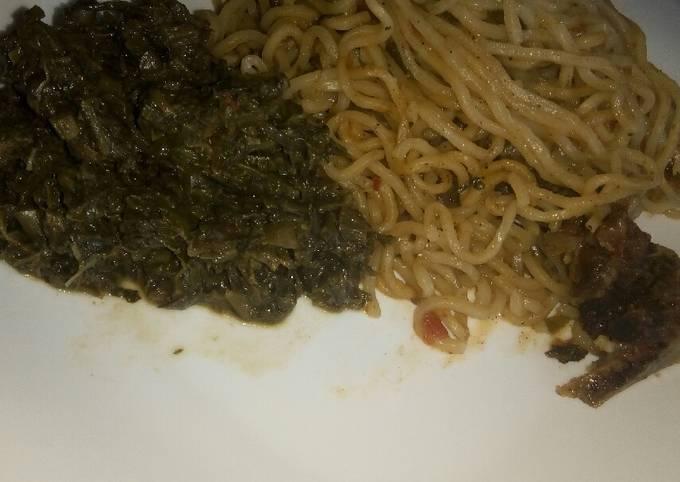 Beef noodles with mchicha