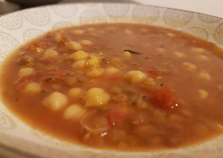 Soupe du Sud aux lentilles et pois chiche
