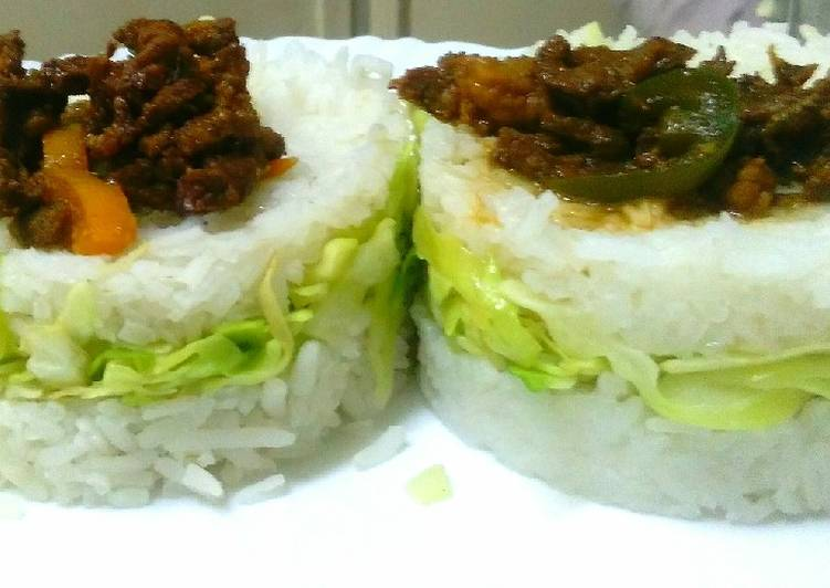 How to Make Speedy Goat meat strips in cabbage rice sandwich
