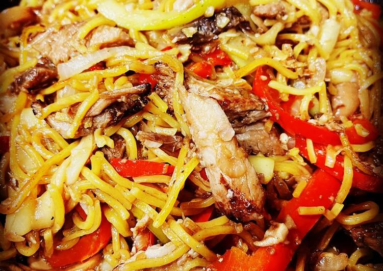 Leftover Roast Pork with Vegetable Chow Mein