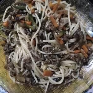Chau fun con verduras y carne (pueden hacer solo verduras)