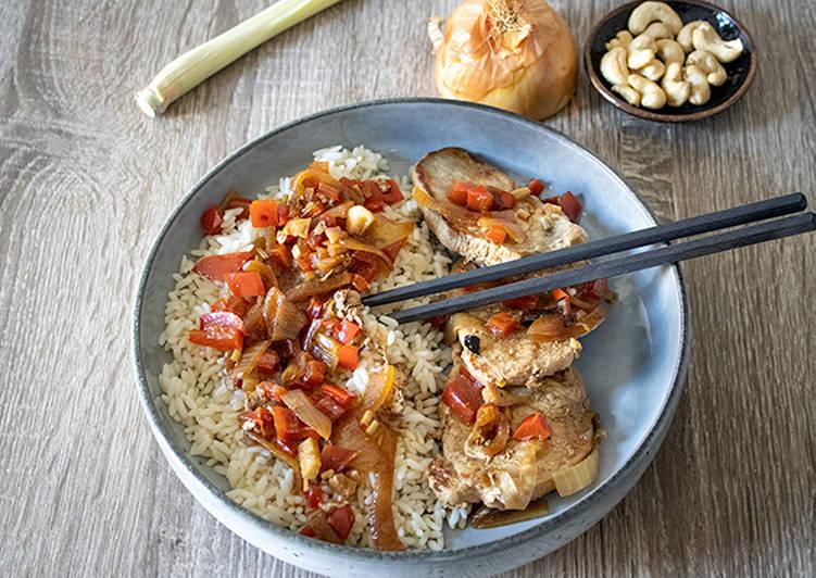 Porc vietnamien noix de cajou et riz blanc