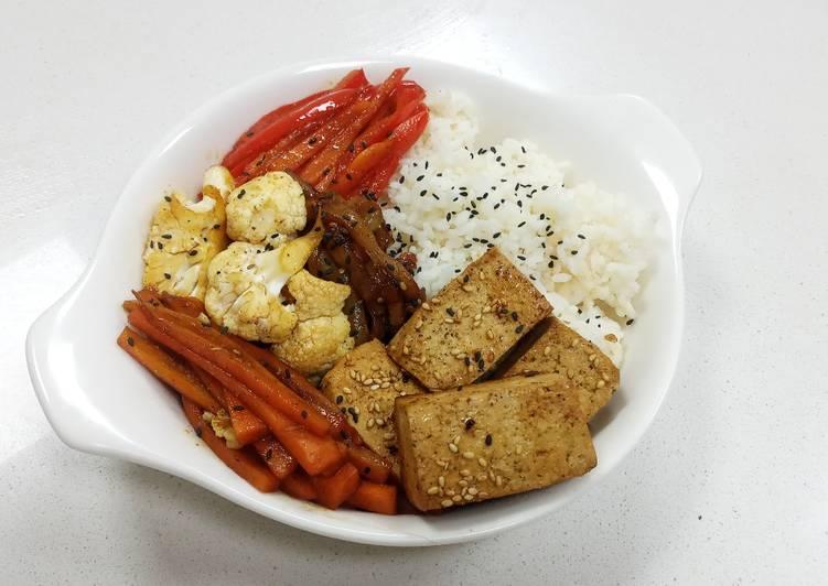 Simple Way to Make Homemade Vegan Chinese Style Tofu and Vegg Bowl