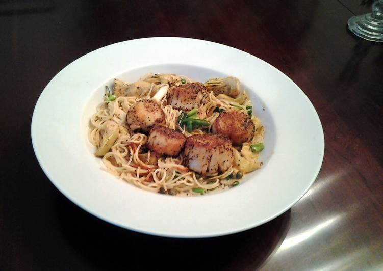 Cajun Seared Scallops with Piccada Sauced Angel Hair Pasta