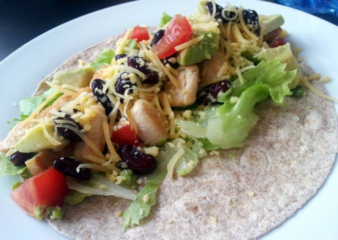 Healthy, quick and easy chicken wrap