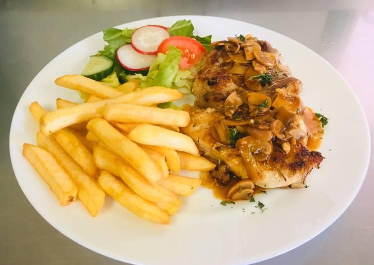 Rosemarry Chicken Steak With Mushrooms Sauce