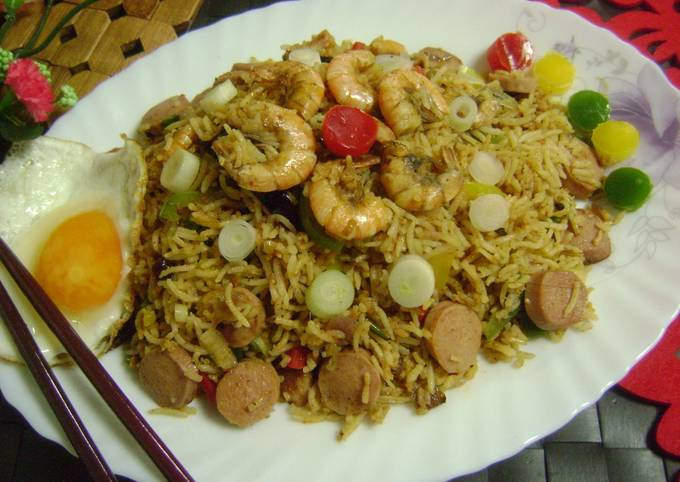 Chilli Sambal Fried Rice with Prawns & Sausages