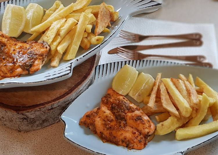 Oven baked salmon and chips