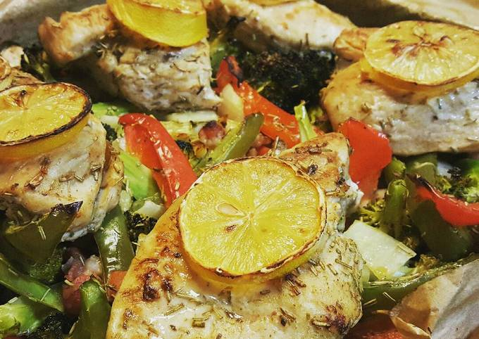 Easiest Way to Prepare Ultimate Baked lemon and herb chicken and veges