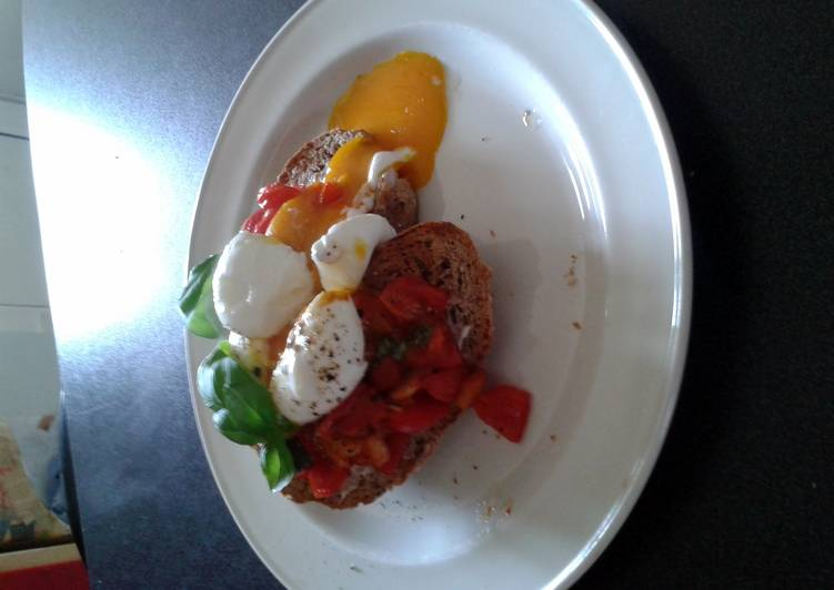 soft boiled eggs with tomato and basil and halloumi
