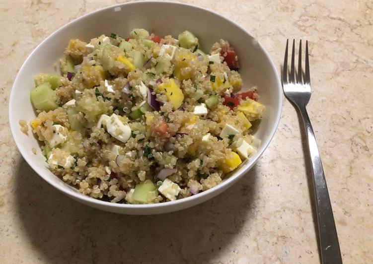 Simple Way to Make Super Quick Homemade Quinoa, Mango & Mint Salad
