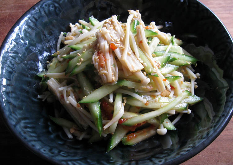 Recipe: Appetizing Spicy Enoki & Cucumber Salad